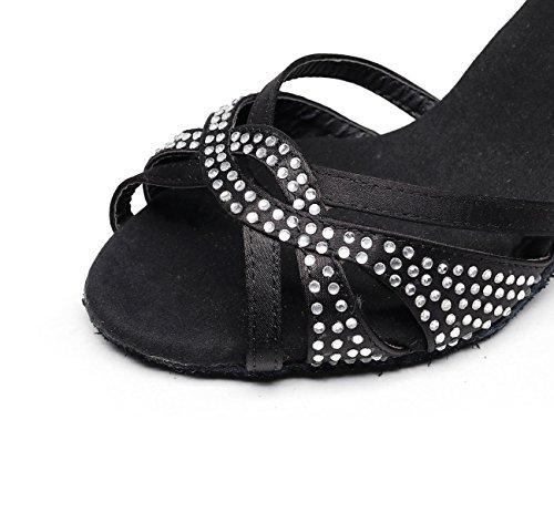 Modern Salsa Chacha De fr6 Eu40 Jazz Chaussures Cristaux Hauts Jshoe Sparking Latin Femme Noirs7 5 Satin Tango Talons 5cm Sandales Our41 Samba xCvqnBx