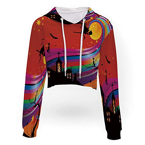iPrint Women's Round Neck Casual Letter,Halloween,Long Sleeve Hoodie Solid Fashion Casu]()