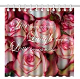 Wknoon 72 x 72 Inch Shower Curtain, Inspirational Quote About Live Laugh and Love Vintage Pink Floral, Waterproof Polyester Fabric Decorative Bath Curtains