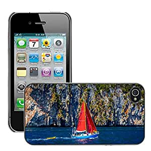 Etui Housse Coque de Protection Cover Rigide pour // M00150866 Barco Tailandia Blue Mar Océano Agua // Apple iPhone 4 4S 4G