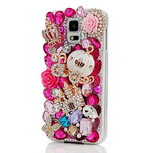 er Pumpkin Car Pattern 3D Handmade Rose Red Rhinestone Bling Crystal Pearl Rose Flower Transparent Case Cover Clear Hard Case for Samsung galaxy note edge ()
