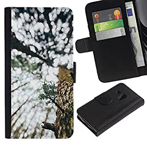 For Samsung Galaxy S3 MINI NOT REGULAR! I8190 I8190N,S-type® Tree Summer Bark Woods Nature Wilderness - Dibujo PU billetera de cuero Funda Case Caso de la piel de la bolsa protectora