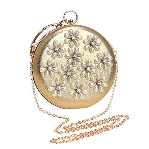 Women Metal Flower Shoulder Evening Bags Mixed Circular Color Clutch YM1204blue Beaded Chain Diamonds Handbags CwCx5q1I4