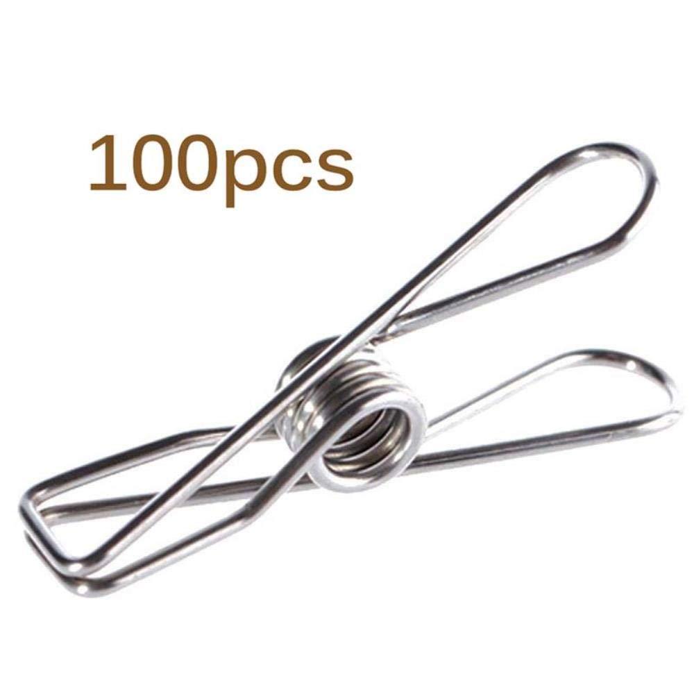 YEZINB 100 Piezas de Pinzas de Ropa de Metal de Acero Inoxidable para Pinzas para Ropa Pantalones de Secado Secadora de Ropa Clip de Toalla de Playa Soporte de Toalla de Lavado