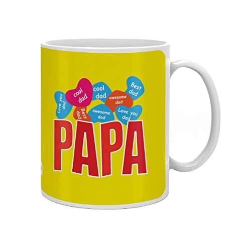 Indigifts Papa Gift Anniversary Love You Dad Quote Yellow Coffee Mug 330 Ml