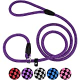 CollarDirect Rope Slip Lead for Small Medium Large Dogs - 6 ft Long - Strong Training Dog Lead, Braided Pets Slip Leash Pink Grey Purple Red Blue Black (Purple)