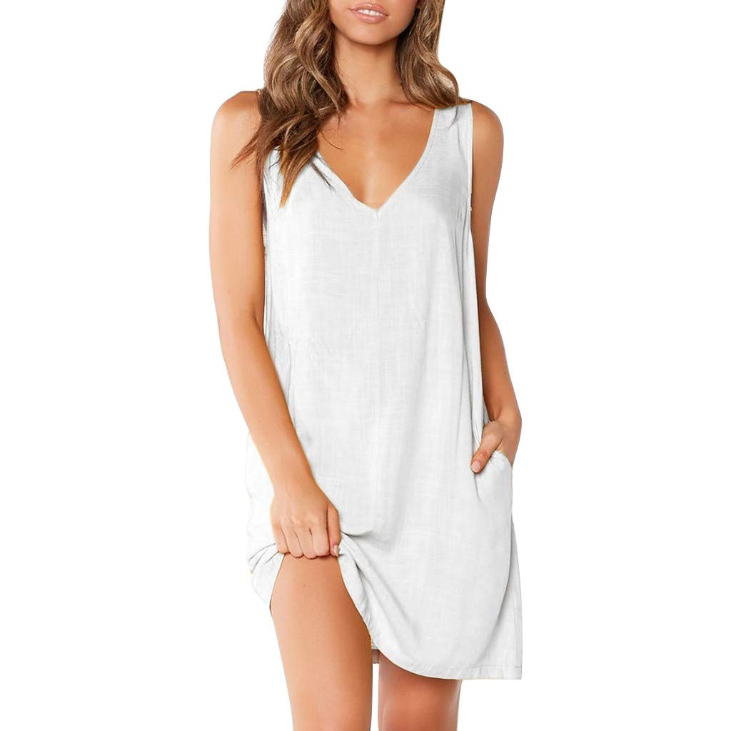 Casual Dresses for Women V Neck Sleeveless Loose Solid Backless Summer T Shirt Dress with Side Pocket (S, White)