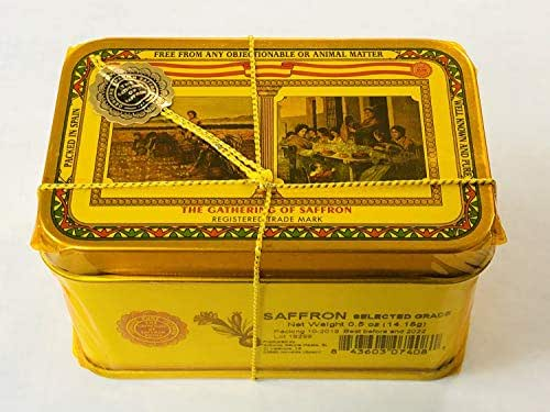 The Gathering of Saffron Brand Saffron, Pure Spanish, 0.5 oz (Half Ounce ) 14.18gm Tin Pack