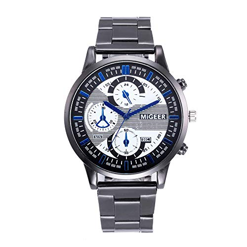 Price comparison product image Fashion Man Design Stainless Steel Watches, Outsta Analog Alloy Quartz Wrist Watch Fashion Business Watches Gift (B)