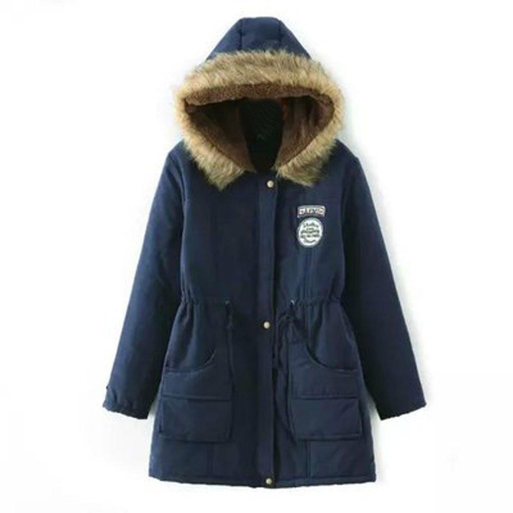 Sumen Women Long Coat Warm Fur Collar Hooded Jacket Slim Winter Parka Outwear