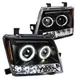 Spec-D Tuning 2LHP-XTE05JM-TM Nissan Xterra Dual Halo Black Led Projector Head Lights