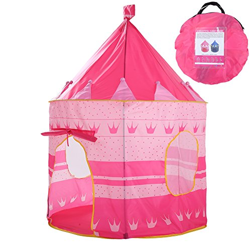 Waliga Foldable Print Princess Castle Play Tent conveniently Folds in to a Carrying Case, Your Kids Will Enjoy This Pop Up Play Tent/House Toy for Indoor & Outdoor Use -