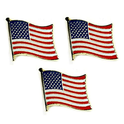 NEW 3 AMERICAN FLAG LAPEL PINS 0.5