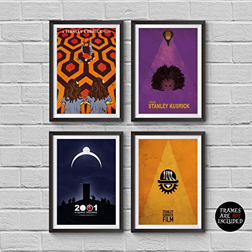 Stanley Kubrick Minimalist Poster Set of 4 Films The Shining A Clockwork Orange 2001: A Space Odyssey Eyes Wide Shut Print Cult Movies Wall Artwork Home Decor Hanging Cool -