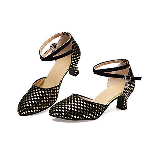 Tango Zapatos 5cm De Baile Golden Mujer 5 Latino Salón Yff Regalo qBUc0