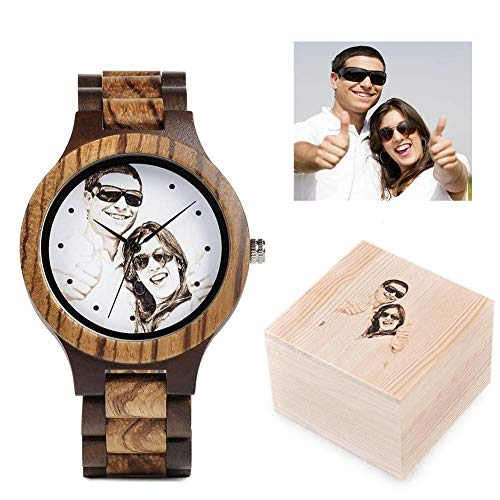 Personalized Customized Wooden Watch for Men Photo Print On Watch Face and Box Engraving for Personalized Gift (Photo Watch)