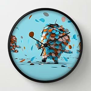 "Timex Universal Indoor/Outdoor Clock Confetti People Black Round Frames Wall Clock Art Design Watch Wall 10"" Diameter Digital Wall Clocks"