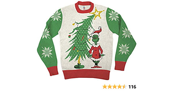 Dr. Seuss Grinch As Weihnachtsmann Next to Tree Adultos Blanco feo Suéter de Navidad
