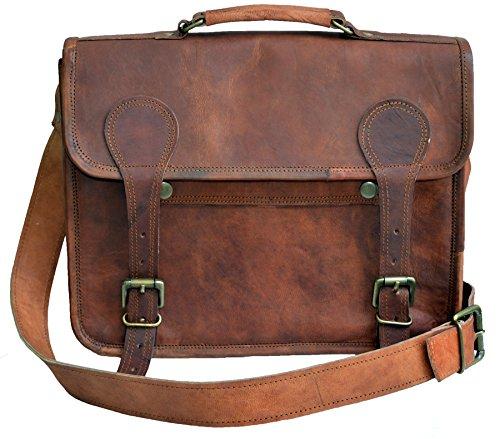 jaald Unisex Piel Auténtica Messenger Man bag Satchel–bolsa para portátil para hombre