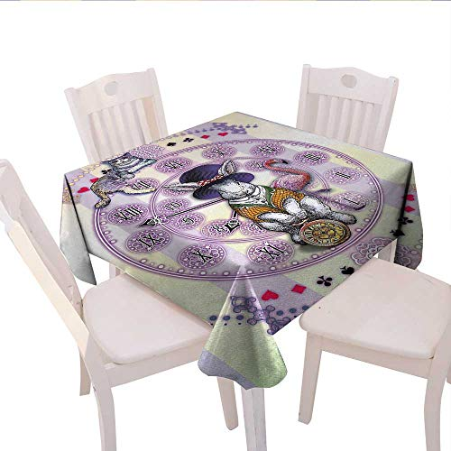Animal Square Tablecloth Alice in Wonderland Rabbit and Cat Fiction Story Novel Child Display Story Farmhouse Tablecloth 50