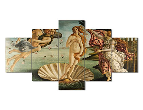 Yatsen Bridge Modern Beautiful Canvas Painting The Birth Of Venus by Sandro Botticelli Wall Art Home Decor Bedroom Wall Decoration Gifts 5 Pieces Famous Artwork Ready to Hang (60