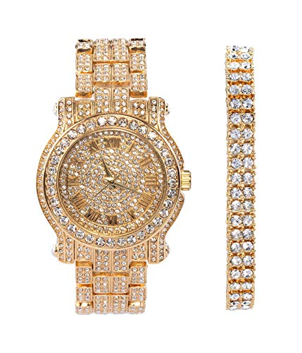 (Mens Gold Luxury Watch with CZ Stones Paired with 2 Row Tennis Bracelet | Water Resistant | Gift Box Included)