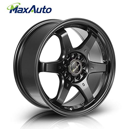 MaxAuto 1 pcs 16x7, 5X100 / 5x114.3, 73.1, 40, Black Rims Alloy Wheels Compatible with Toyota Camry 1986-2017/Honda Accord 1998-2002 2005-2011 2014 2017/Toyota Corolla 2003-2017/Honda Civic 2004-2017 ()