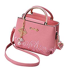 Women's Casual Leather Totes with Crystal Decoration