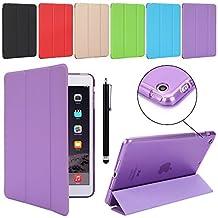 iPad Case TKOOFN Slim-Fit Folio Smart Cover with Back Case [Magnetic Auto Wake/Sleep Function] for iPad Mini 1 2 3 Purple