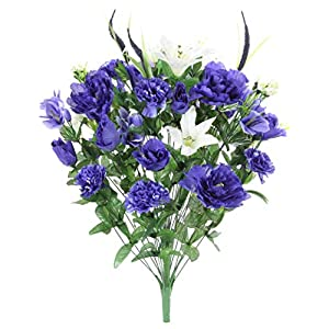 Admired By Nature ABN1B001-BL 40 Stems Artificial Full Blooming Lily, Rose Bud, Carnation and Mum with Greenery Mixed Flower Bush, Blue, 112