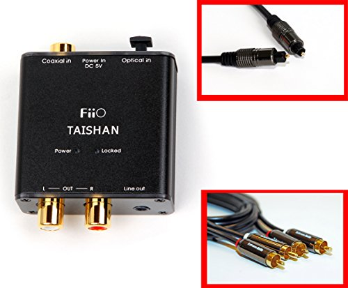 Fiio D3 (D03 K) Digital to Analog Audio Coverter with Extreme Audio Optical TOSlink Cable and RCA to RCA Audio Cable (192kHz/24bit Optical and Coaxial DAC) (Receiver Optical Plasma)