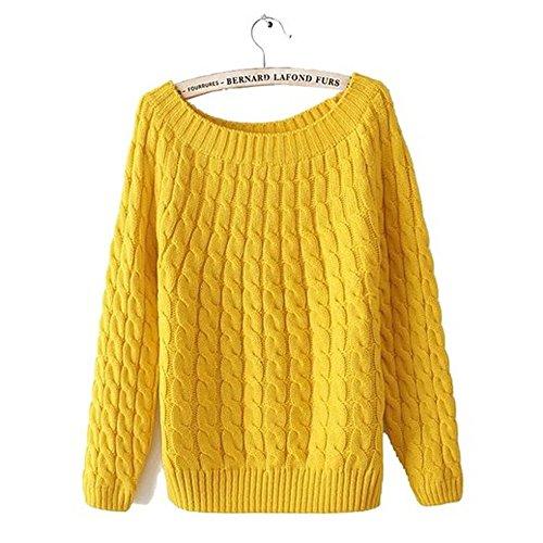 E-Shine-Womens-Classic-Retro-Twist-Round-Neck-Pullover-Sweater