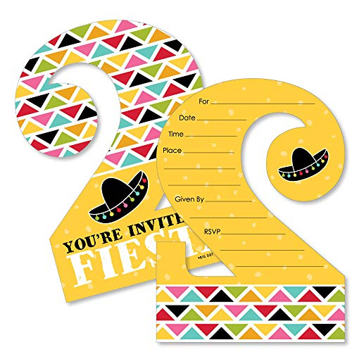 2nd Birthday Let's Fiesta - Shaped Fill-in Invitations - Mexican Fiesta Second Birthday Party Invitation Cards with Envelopes - Set of - Fiesta Invitations Party Mexican
