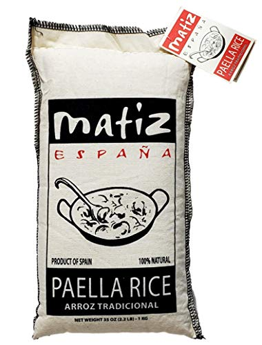 - Matiz Valenciano Paella Rice from Spain (2.2 lbs.) Traditional Spanish Medium-Grain | Risotto, Arrow Negro, Seafood Dishes | Natural Flavor | Soy and Gluten Free