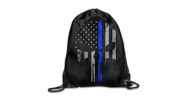 SUNG916 Thin Blue Line Punisher Gym Drawstring Bags Backpack