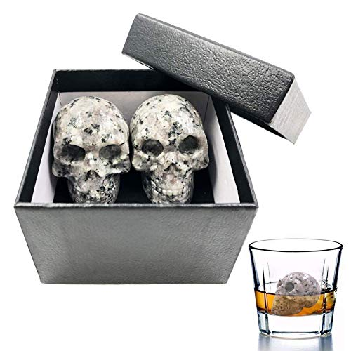 (Vodolo Whiskey Stones, 100% Hand Carved Skull Wine Stone Reusable Beverage Granit Chilling Stones Bar Ice Cubes 2 Set, Gift Box Included)