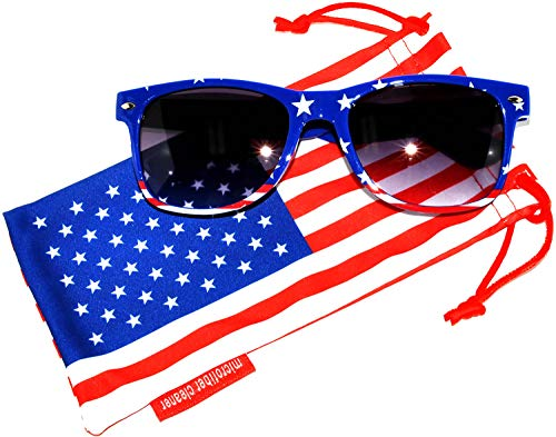 Classic American Flag Sunglasses USA Patriot Colored Lens 4th of July OWL (Blue_Red_Frame_Smoke_Ls, PC Lens)