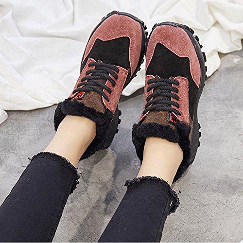 XIA Baumwollschuhe dicken Boden Schwamm Kuchen Verdickung Outdoor Damenschuhe Rot
