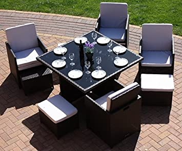costa rica cube set in 4 line black weave colour eight seat dining