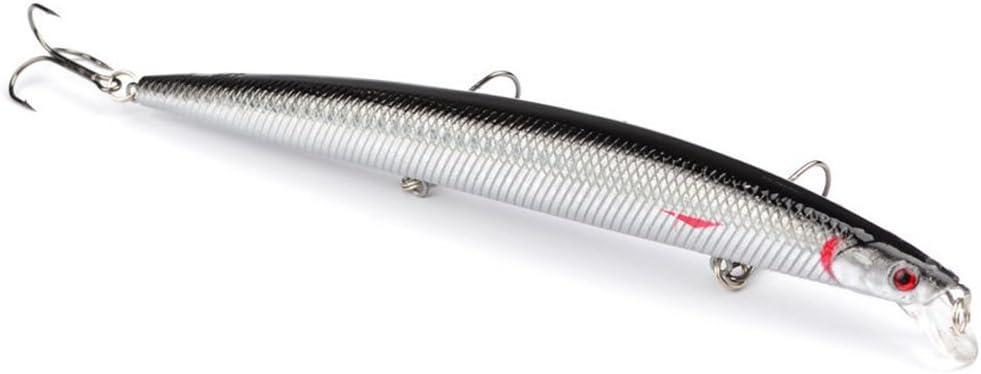 Kingnew Señuelos de Pesca, Cebo de Señuelos de Minnow para Caña de Pescar con Bola de Cambio en el Interior, Ideal para Agua Dulce Salada (J)