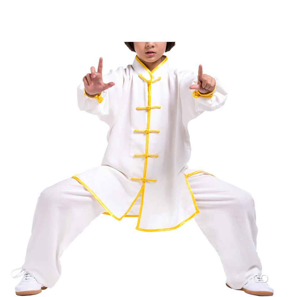 KIKIGOAL Breathable Unisex Children Kids Chinese Traditional Wushu Martial Arts Uniform (S, white yellow) by KIKIGOAL