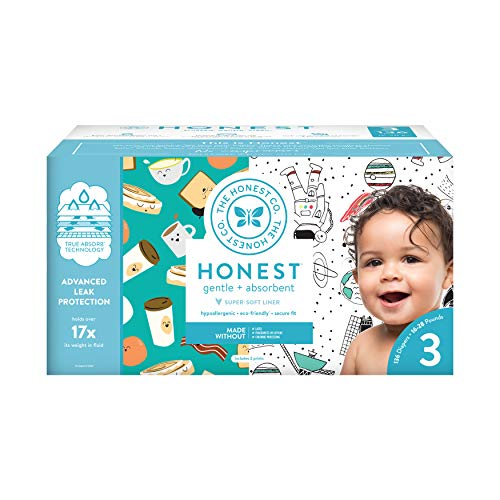 The Honest Company Super Club Box Diapers with TrueAbsorb Technology, Space Travel & Breakfast, Size 3, 136 Count