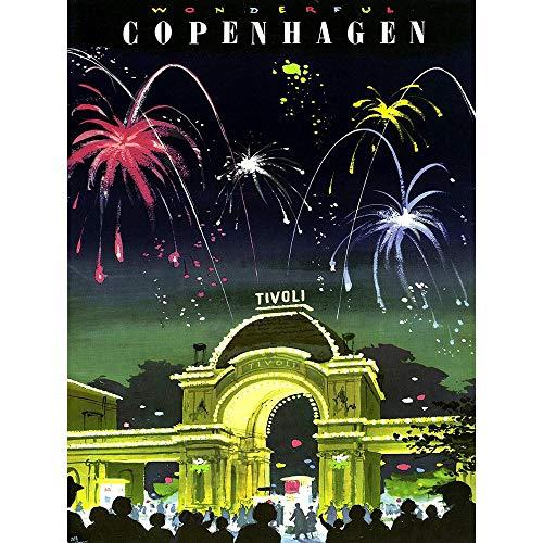 Wee Blue Coo Travel Tourism Copenhagen Denmark Tivoli Gardens Fireworks Vintage Unframed Wall Art Print Poster Home Decor Premium from Wee Blue Coo