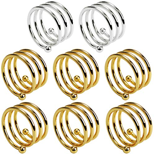 SelfTek 6 pcs Gold and 2 pcs Silver stainless steel Metal Spiral Napkin Rings Round Serviette Holder Buckles for Wedding, Party, Dinner Party, Table Decorations