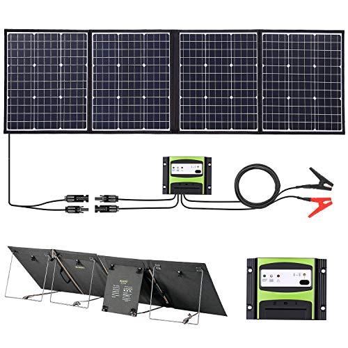 SUAOKI 160W Solar Panel Kit 12V Off Grid IPX3 Waterproof Foldable Monocrystalline PV Cells With Charge Controller, MC4 Cables, Battery Clamps, and Aluminum Mount, Outdoor Boat RV Solar Battery Charger