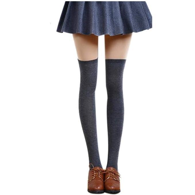 OHQ calcetines Calcetines Muslo Sexy Para Mujeres Sobre La Rodilla Medias De AlgodóN Largas Medias Calcetines Altos: Amazon.es: Ropa y accesorios