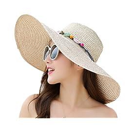 Demarkt Sun Hat Holiday Fashion Hat Women Summer Beach Big Foldable Floppy Hats for Women Grils