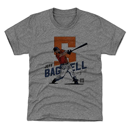 500 LEVEL Houston Baseball Youth Shirt - Kids Medium (8Y) Tri Gray - Jeff Bagwell Swing O ()