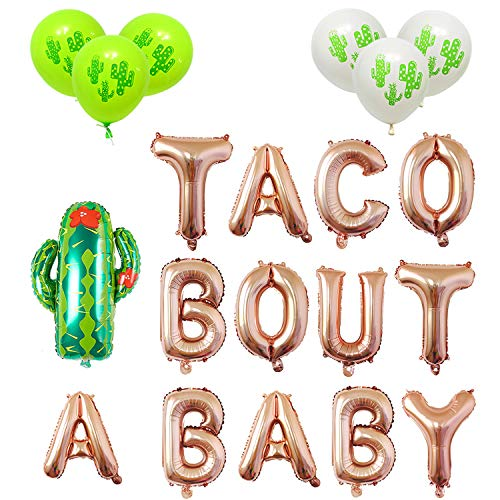 Taco Bout A Baby Rose Gold Balloons Banner Fiesta Cactus Baby Shower First 1st Birthday Party Decorations Supplies Theme Boy or Girl Gender Reveal Pregnancy Announcement Letter Balloon