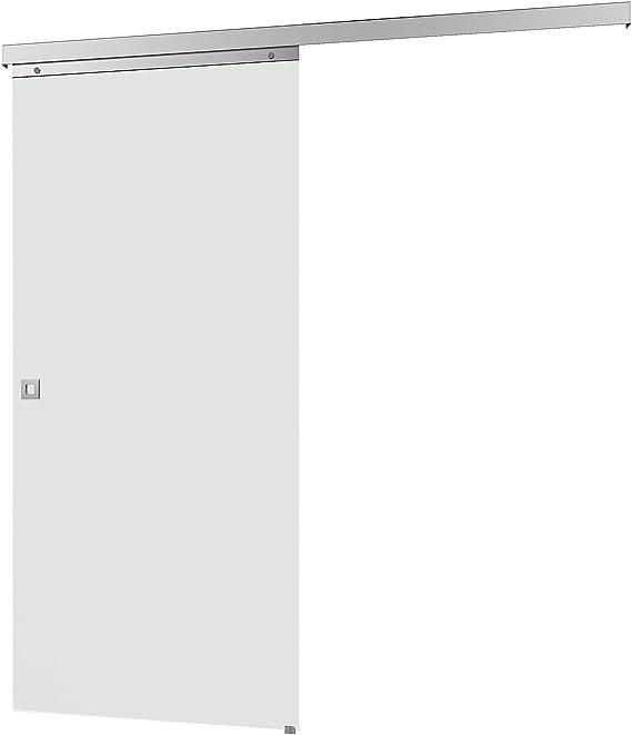Puerta Corredera de Cristal, 755 x 2035 mm, Vidrio templado de 8 mm, Para Habitación, Juego completo con herrajes y mangos (superficie completa de Cristal satinado + mango Cuadrado): Amazon.es: Bricolaje y